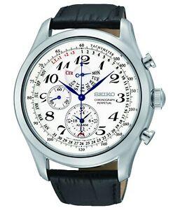 Seiko-Men-039-s-SPC131P1-Neo-Classic-Alarm-Perpetual-Chrono-Leather-Strap-Watch