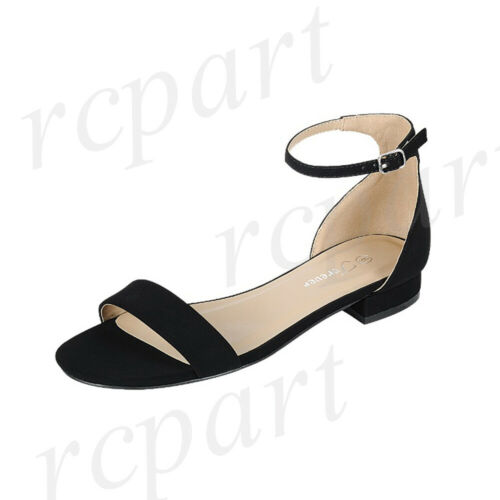 New girl/'s formal dress casual wedding open toe ankle strap shoes buckle Black