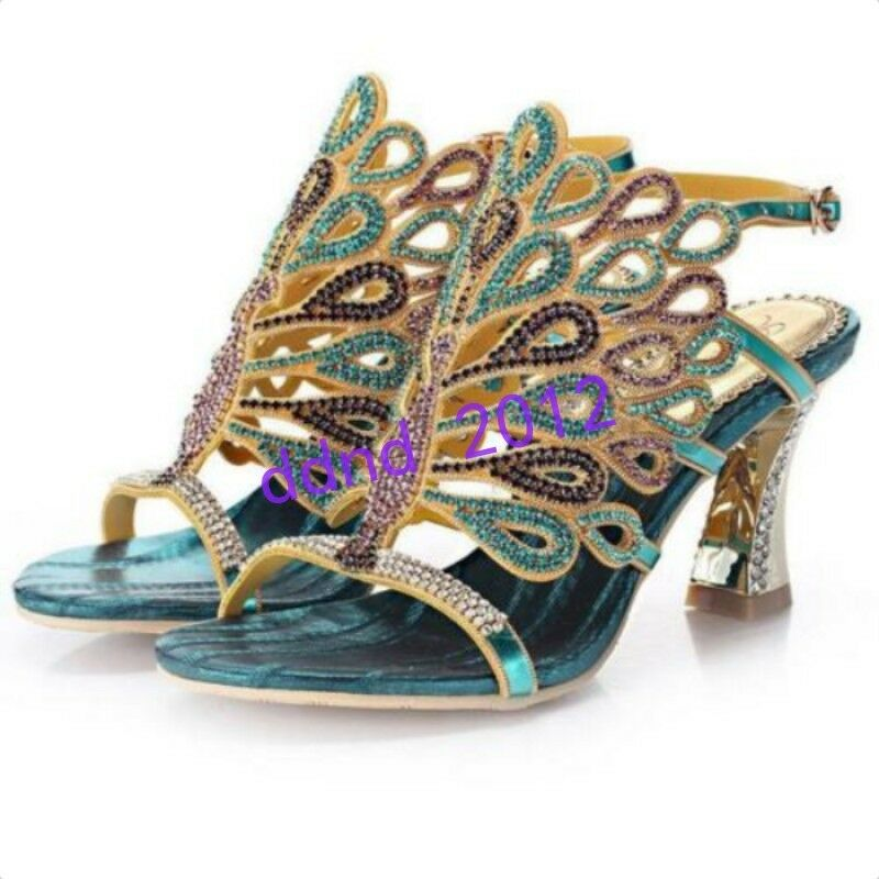 Peacock Platform Crystal Thick High Heel Jeweled Evening Dress Sandal shoes New
