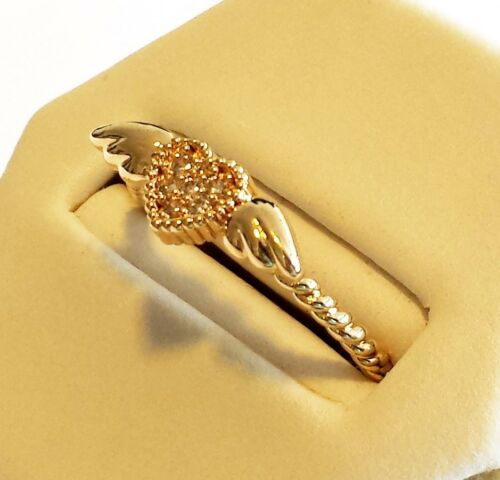 Emo 14K Gold Filled Heart Wings solitaire cubic zircon ring sz 7 Israël fait