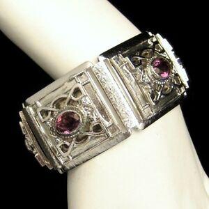 Whiting-Davis-Silver-Plated-Engraved-Wide-Bracelet-Purple-Rhinestones-Vintage