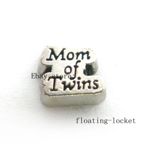 10pcs mère de jumeaux Flottant Charms Pour Verre Mémoire vivante Médaillon FC1349