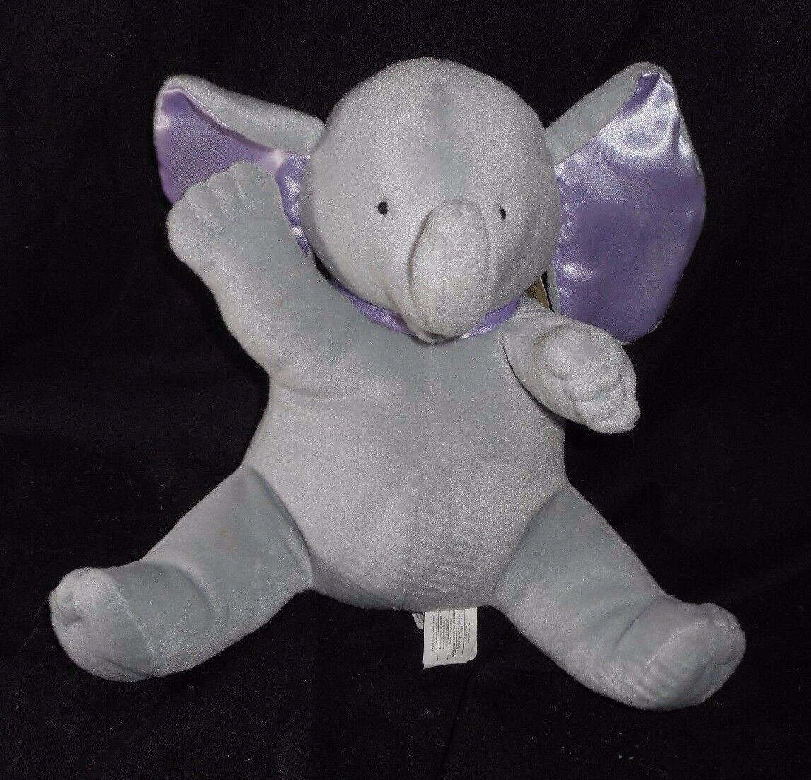 VINTAGE NORTH AMERICAN BABY ELEPHANT SATIN EARS MUSICAL STUFFED ANIMAL PLUSH TOY