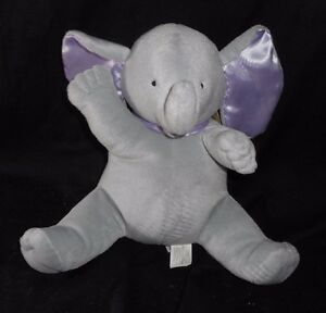 VINTAGE NORTH AMERICAN BABY ELEPHANT SATIN EARS MUSICAL STUFFED ANIMAL PLUSH TOY