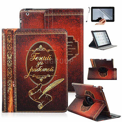 For Apple iPad air 2 mini Vintage Classic Book Style PU Slim Smart Case Cover