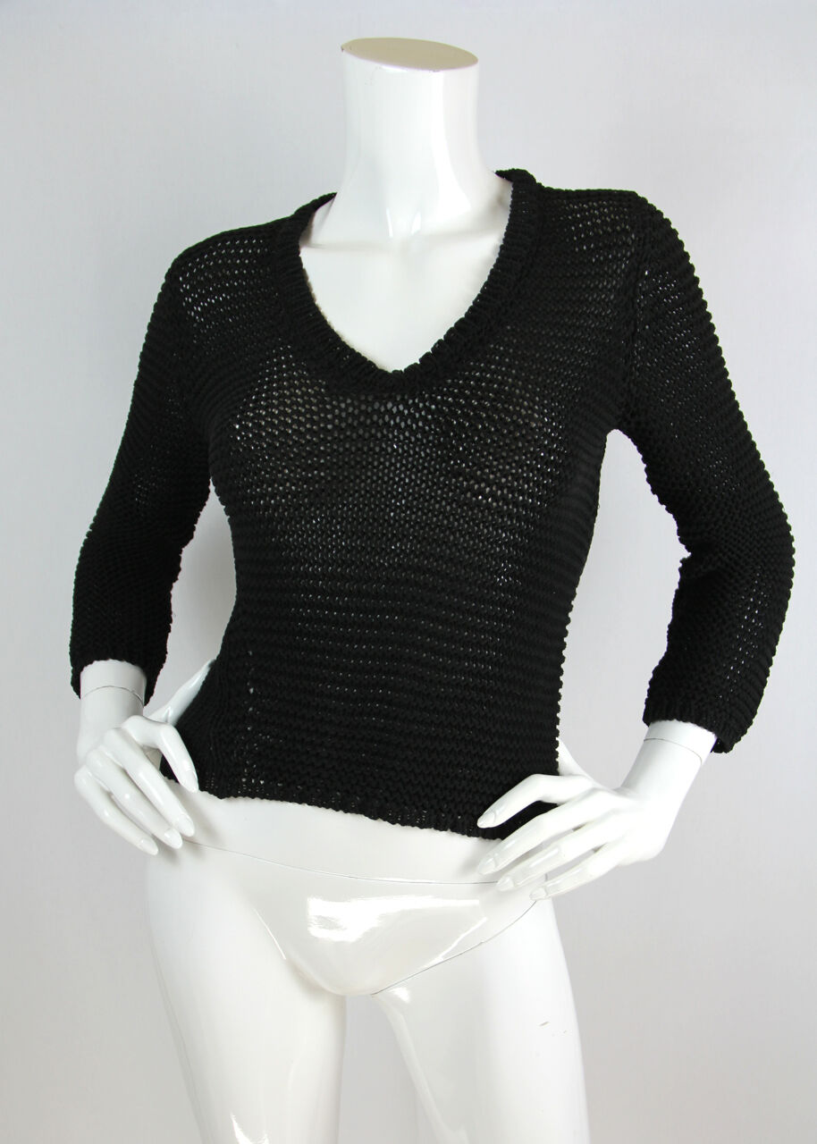 Jil Sander XS S Sweater Top schwarz Open Knit V-Neck Viscose Blend 3 4 Sleeve EUC