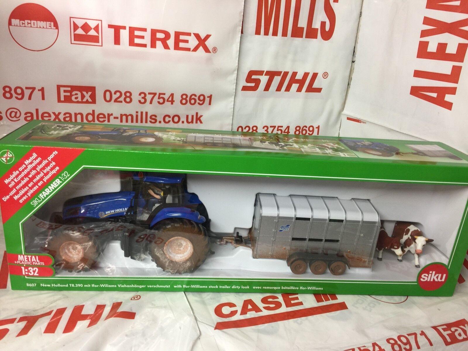 SIKU 8607 Modèle Jouet New Holland Tracteur & IFOR WILLIAMS Remorque 1 32 Replica Toy
