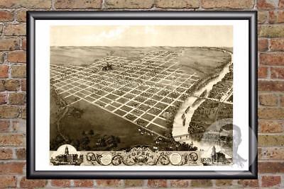 Topeka Kansas 1869 Historic Panoramic Town Map 18x24