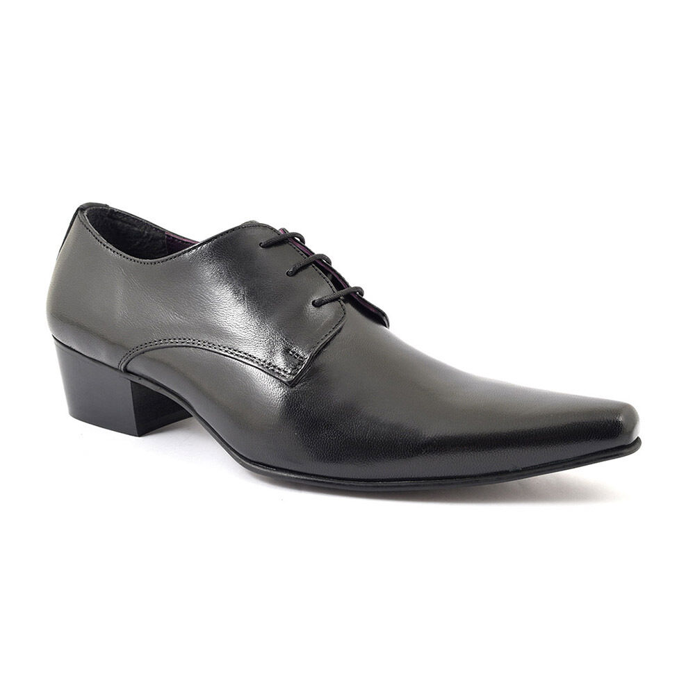 Gucinari Juliano Black Leather Men'S Classic shoes Lace Up Derby Heel Pointed