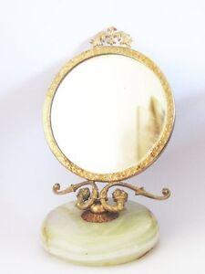 Le Meilleur Glace Miroir Spyche En Laiton Dore Base En Onyx Le Prix Reste Stable