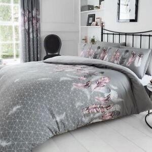 Geometrische Federn Einzelbettbezug Set Wende Bettwäsche Grau