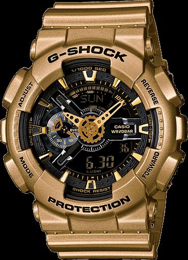 Casio G Shock Black Dial Gold Colored Resin Mens Watch Ga110gd 9b
