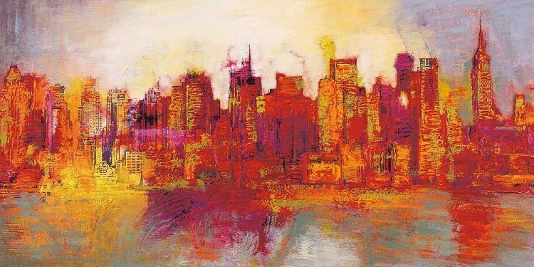 Brian Carter  Abstract New York City Keilrahmen-Bild Leinwand abstrakt bunt
