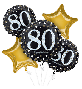 80 Sparkling Celebration 80th Birthday Balloon Bouquet Party Supplies Sixtieth
