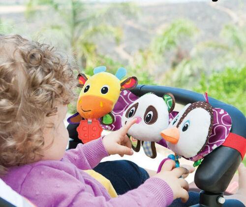 baby sozzy plush toy stretch /& play musical travel trio panda,penguin,giraffe
