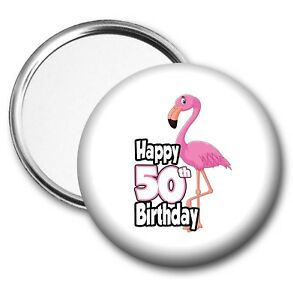 Image Is Loading Pink Flamingo Pocket Mirror 50th Birthday Gift Ladies
