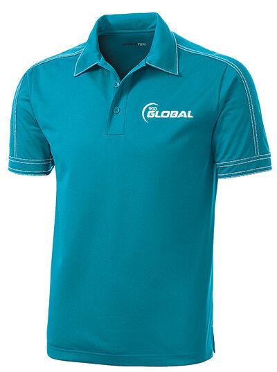 900 Global Men's Boo-Yah  Performance Polo Bowling Shirt Dri-Fit Tropic bluee