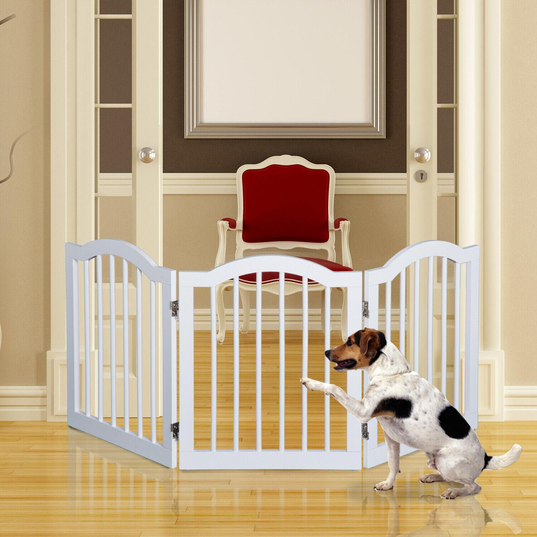 Doorway Freestanding 3 Panels Wooden Dog Gate Divider Pets Fence Safety Barrier