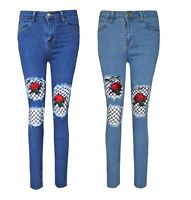 Ladies Denim Ripped Front Skinny Jeans Womens Fishnet Rose Embroidered Trouser