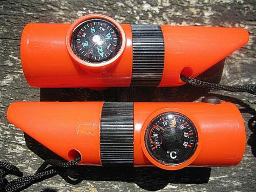 2x Rettungspfeife 7in1 Signalpfeife Hunde Pfeife Kompaß Thermometer Lampe orange