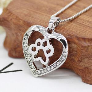 Fashion women rhinestone hollow love heart dog paw pendant necklace image is loading fashion women rhinestone hollow love heart dog paw mozeypictures Gallery