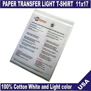 25 chromacotton transfer paper 11x17 for white light white