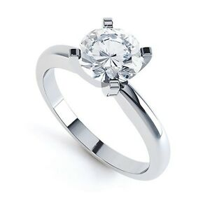 18CT-Redondo-Brillante-Corte-Diamante-Anillo-Solitario-Tradicional