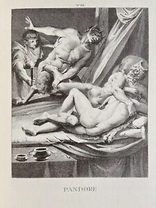 Agostino Carracci erotico vagina pene atto Faun Satiro erezione antica Pandora
