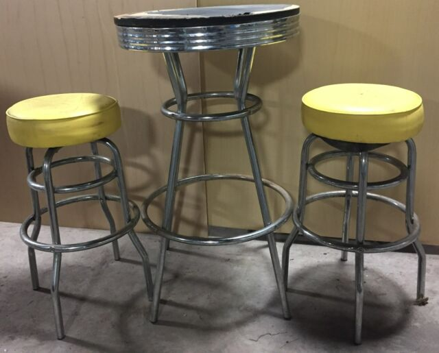 ANTIQUE VINTAGE  ICE CREAM BAR CAFE HIGH TABLE 2 STOOLS YELLOW RESTAURANT (ST)