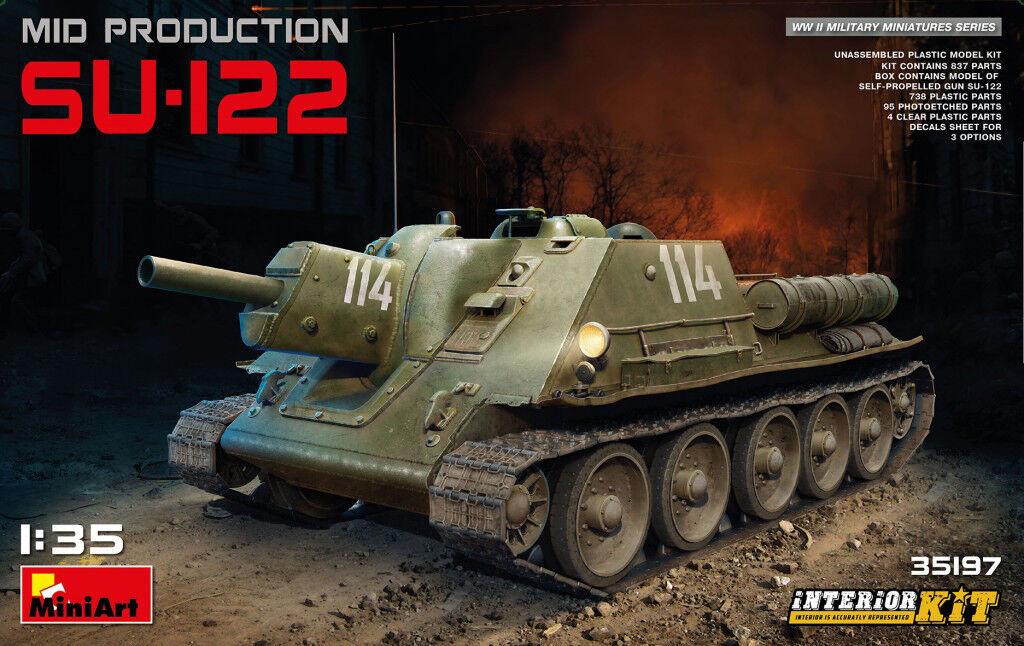Miniart 1 35 SU-122 Mid Production Soviet SPG Tank With Interior Model Kit