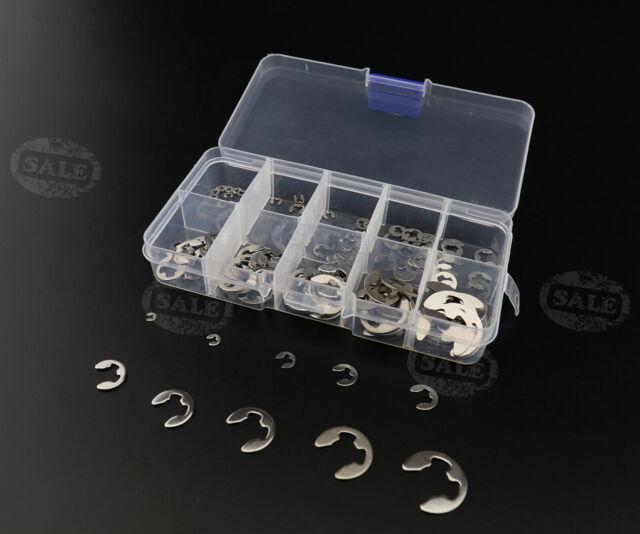 120x 304 Stainless E-Clip Retaining Snap Ring Circlip Assortment Kit 1.5-10mm UK