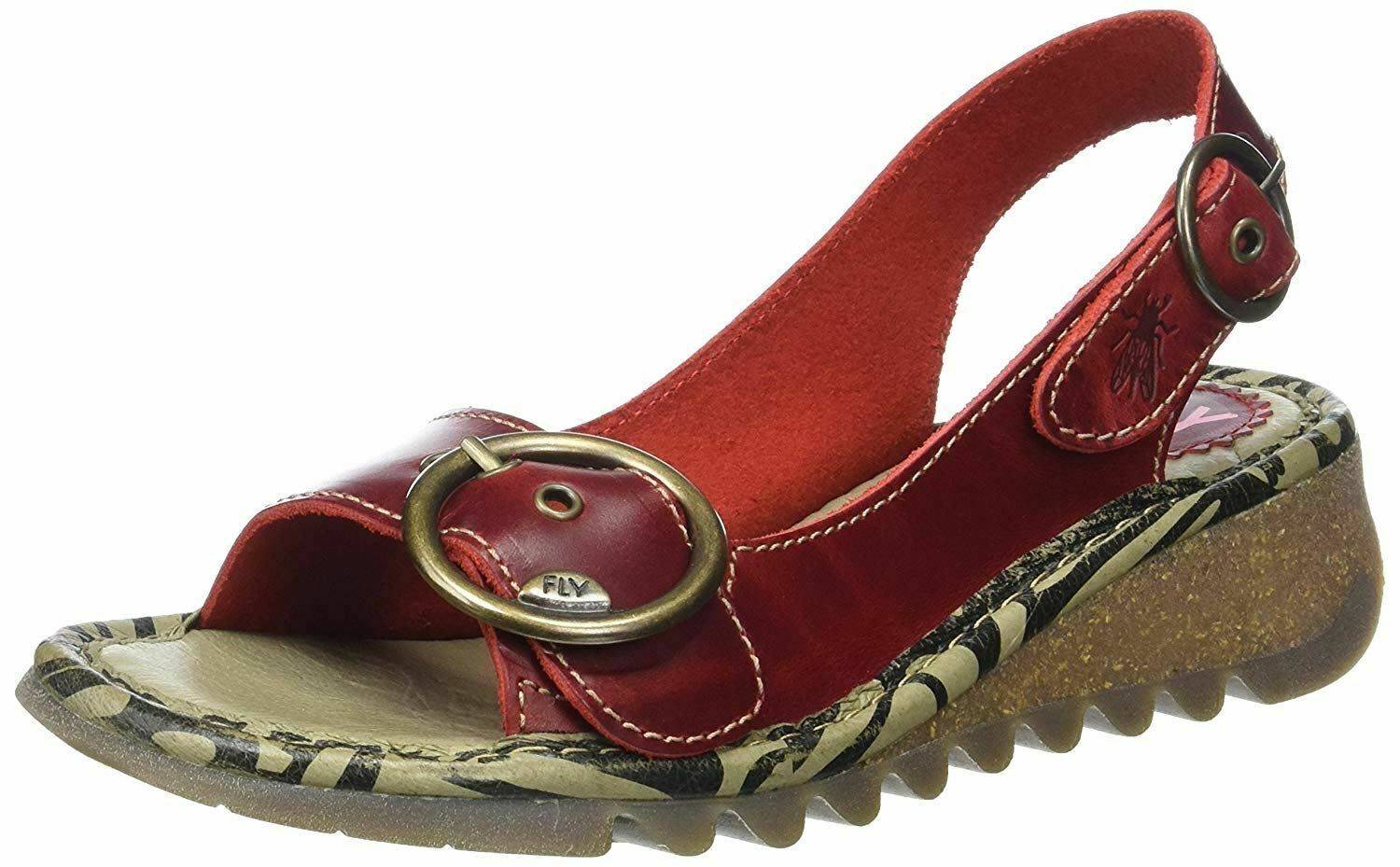 Fly London Tram Red Womens Leather Slingback Sandals shoes
