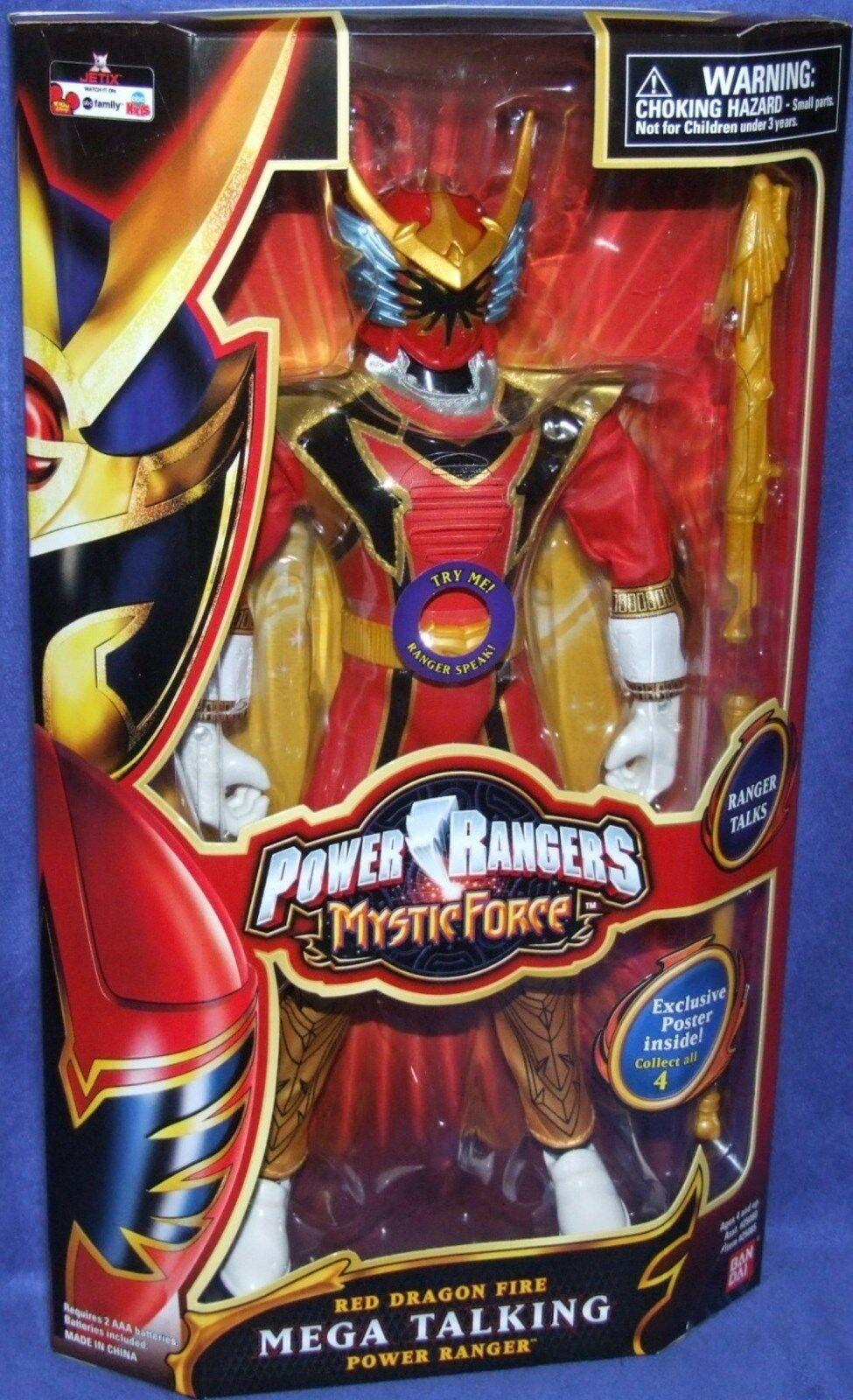 nueva gama alta exclusiva Power Rangers Mystic Force 12  Mega rojo rojo rojo Fire Dragon hablando Ranger 2006 Nuevo  cómodamente