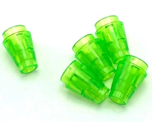 Lego 5 New Trans-Bright Green Cone 1 x 1 Top Groove Transparent Pieces