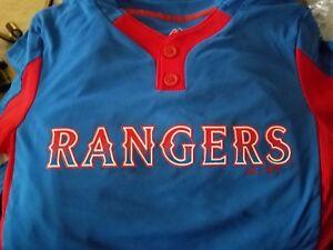 b5f602c0d35 New Majestic Cool Base Rangers Med Youth Baseball Little League 2 ...