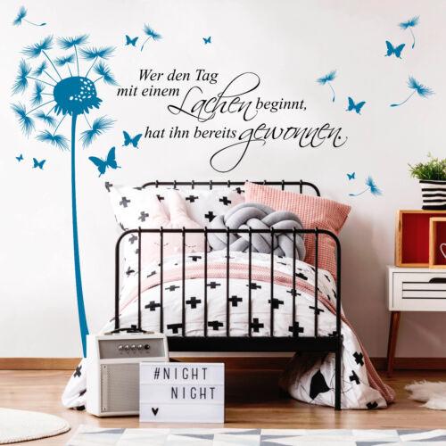2farbig Wandtattoo Pusteblume Schmetterling WUNSCHTEXT 12362 Spruch Worte