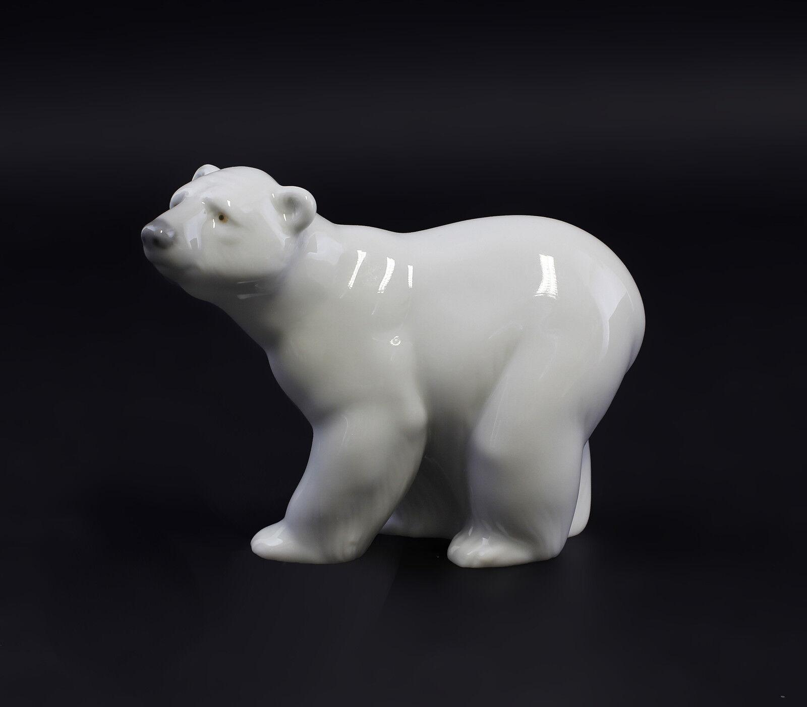 9998004 Porzellan Eisbär Bär aufmerksam Lladro Spanien  10x13x6cm
