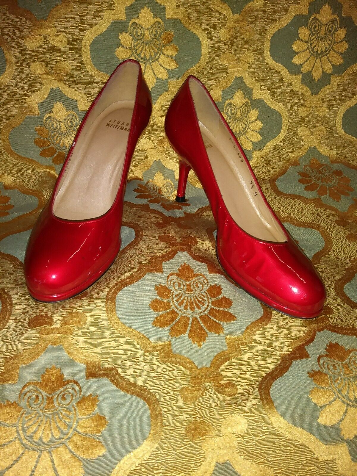 Stuart Weitzman 5.5 Red Patent Leather Round Toe Pumps Heels Platform Ruby Flame