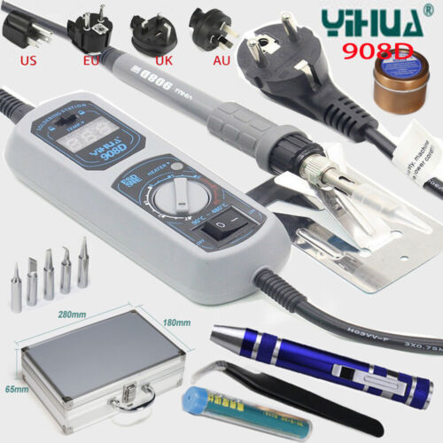 YH908D Electric Soldering Iron Temperature Adjustable Welding Repair Tool+5 Tips