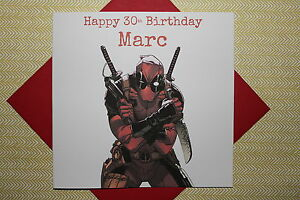 Handmade personalised deadpool birthday card son father brother image is loading handmade personalised deadpool birthday card son father brother bookmarktalkfo Choice Image
