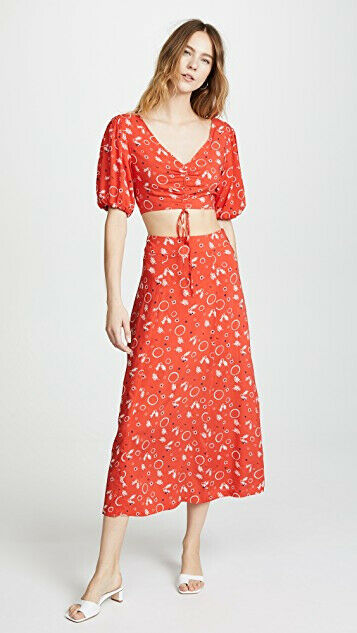 Free People Womens Danni Jane OB765463 Skirt Printed Cherry Combo Red Size US 4