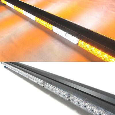 """41/"""" LED Double Side Work Light Bar Beacon Warning Strobe Light Amber/&White 252W"""