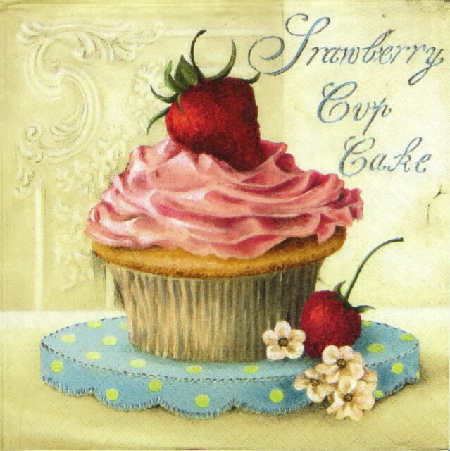 4x Vintage Strawberry Cup CakePaper Napkins for Decoupage