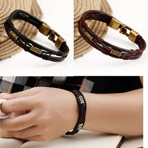 Men-039-s-Braided-Genuine-Leather-Stainless-Steel-Cuff-Bangle-Bracelet-Wristband-New