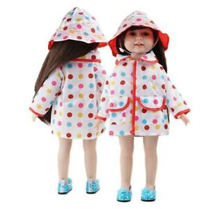 Rainbow-Dot-Raincoat-Hat-Clothes-For-18in-Girl-Our-Generation-Doll-B3H0