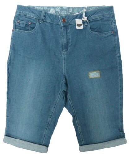 Ladies 14-28 New Stretch Denim Blue Knee Length Shorts Turn Up Womens Plus Size