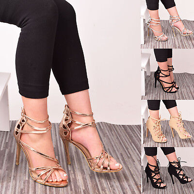 Gladiator Women High Slim Heels Sandals Caged Ankle Buckle Evening Party Shoes