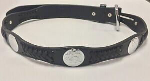 Original-Leather-Concho-amp-Ribbon-Western-Cowboy-Rodeo-Black-Belt