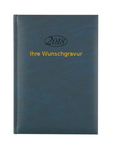 blau Buchkalender 2018 mit goldfarbender Gravur Chefkalender Farbe