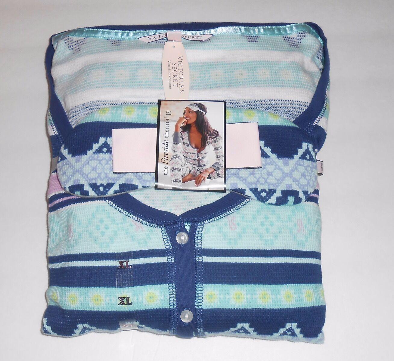 Victoria's Secret the Fireside Deux (2) PIECE thermique Pajama Set + Masque XL Neuf avec étiquettes